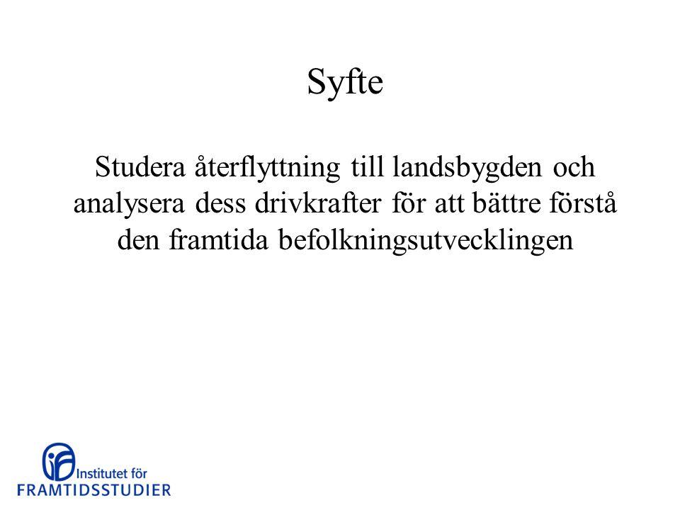 Fyra delstudier 1.Hur omfattande är egentligen återflyttningen till olika delar av Sverige.