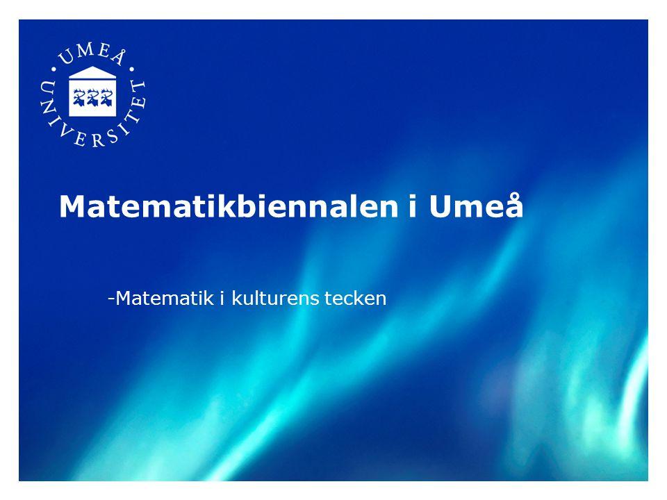 Syfte •Biennalen ska utgöra en mötesplats där lärare, forskare och skolledare från alla skolformer och åldrar ska kunna prata matematikundervisning och matematik, delta i didaktiska diskussioner, utbyta erfarenheter och bli inspirerade.