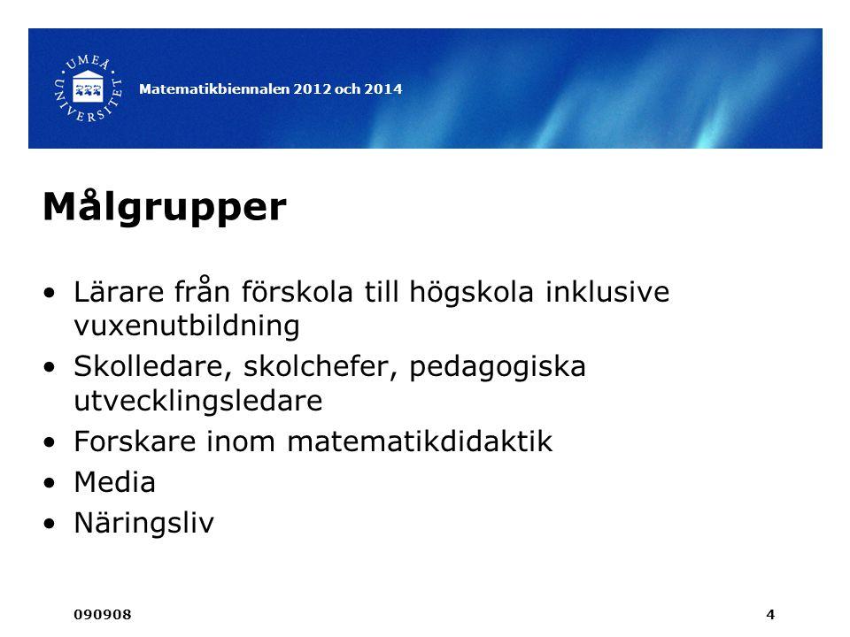 Projektledning •Nina Rudälv •Annalisa Rådeström •Olof Johansson •Umeå congress 090908 Matematikbiennalen 2012 och 2014 5