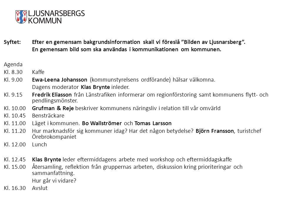 """Syftet:Efter en gemensam bakgrundsinformation skall vi föreslå """"Bilden av Ljusnarsberg"""". En gemensam bild som ska användas i kommunikationen om kommun"""