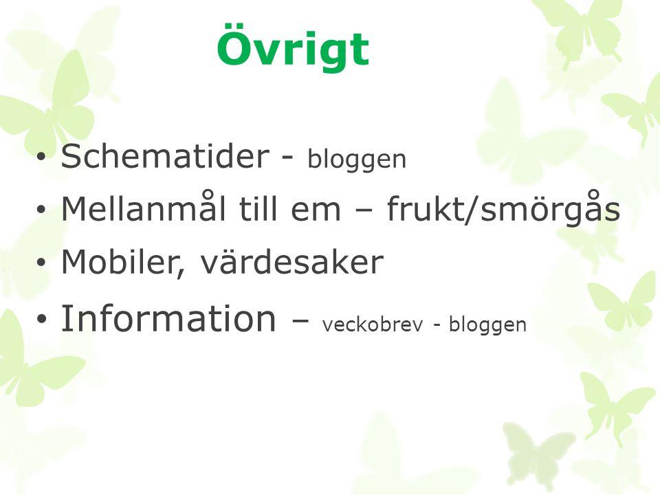 Övrigt • Schematider - bloggen • Mellanmål till em – frukt/smörgås • Mobiler, värdesaker • Information – veckobrev - bloggen