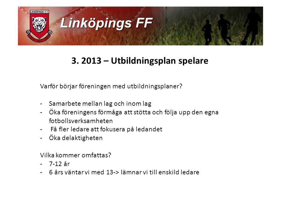 3.2013 – Utbildningsplan spelare Varför börjar föreningen med utbildningsplaner.