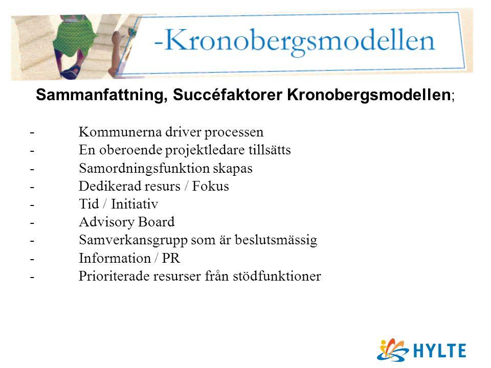 Sammanfattning, Succéfaktorer Kronobergsmodellen ; - Kommunerna driver processen -En oberoende projektledare tillsätts -Samordningsfunktion skapas -Dedikerad resurs / Fokus -Tid / Initiativ -Advisory Board -Samverkansgrupp som är beslutsmässig -Information / PR -Prioriterade resurser från stödfunktioner