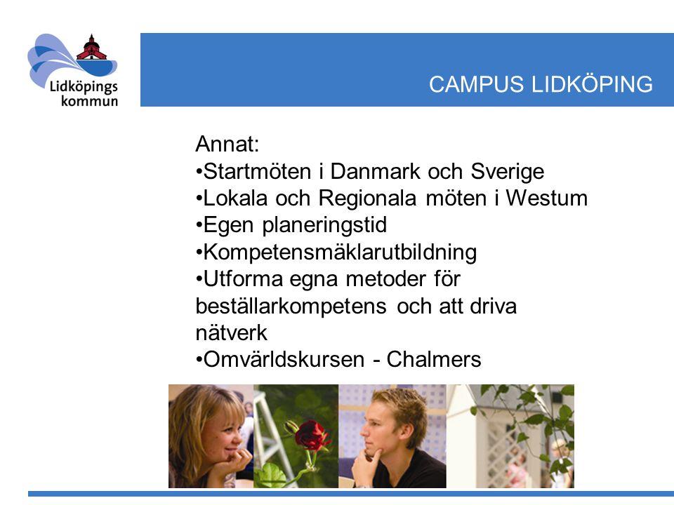 CAMPUS LIDKÖPING Annat: •Startmöten i Danmark och Sverige •Lokala och Regionala möten i Westum •Egen planeringstid •Kompetensmäklarutbildning •Utforma