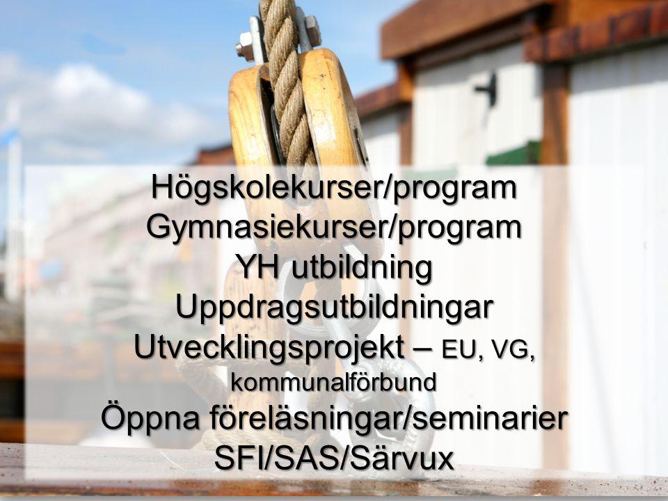 Högskolekurser/programGymnasiekurser/program YH utbildning Uppdragsutbildningar Utvecklingsprojekt – EU, VG, kommunalförbund Öppna föreläsningar/semin