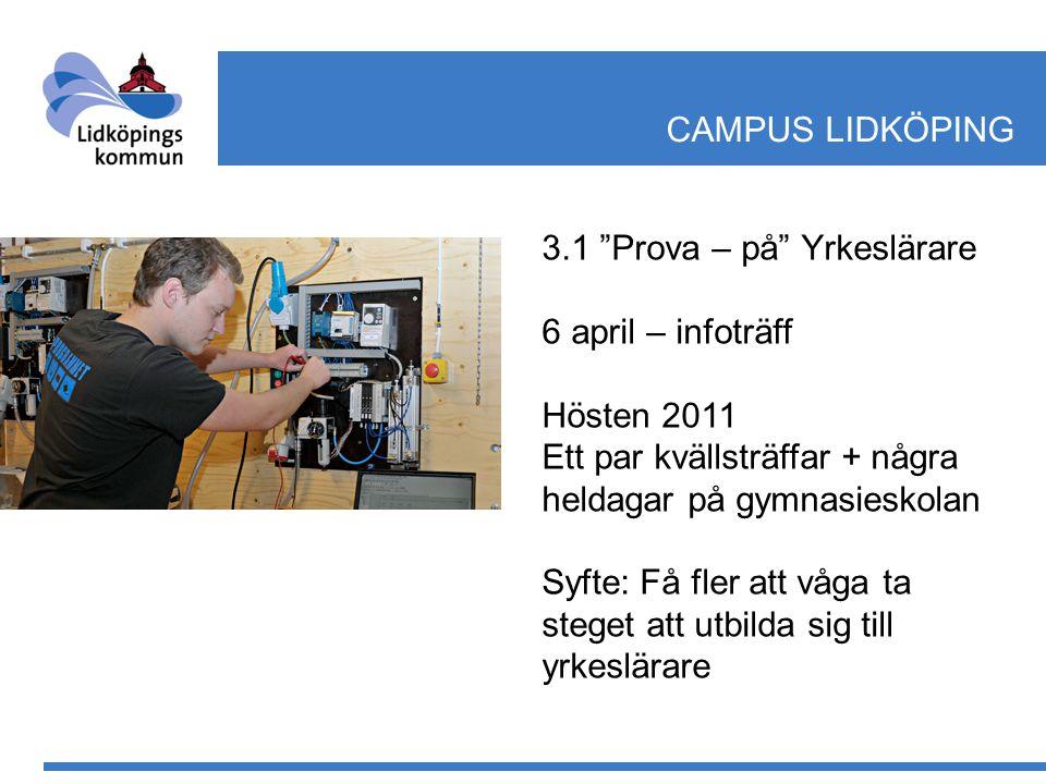 """3.1 """"Prova – på"""" Yrkeslärare 6 april – infoträff Hösten 2011 Ett par kvällsträffar + några heldagar på gymnasieskolan Syfte: Få fler att våga ta stege"""