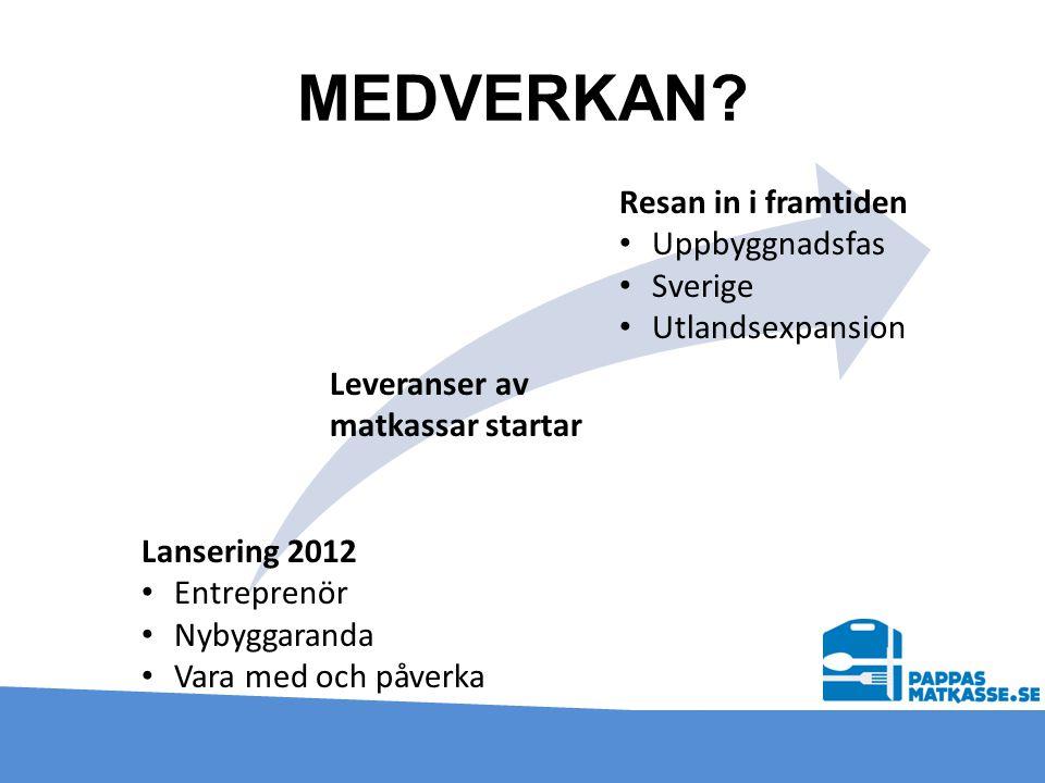 MEDVERKAN? Lansering 2012 • Entreprenör • Nybyggaranda • Vara med och påverka Leveranser av matkassar startar Resan in i framtiden • Uppbyggnadsfas •