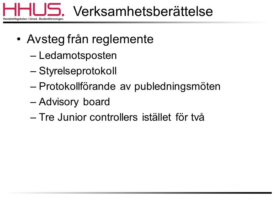 Verksamhetsberättelse •Avsteg från reglemente –Ledamotsposten –Styrelseprotokoll –Protokollförande av publedningsmöten –Advisory board –Tre Junior controllers istället för två