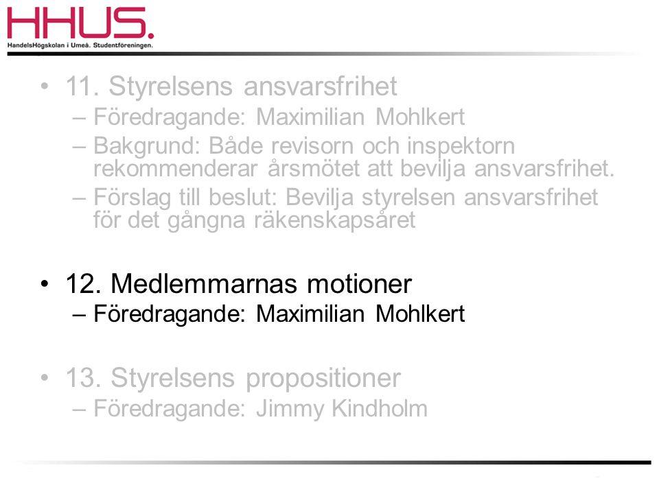 •11. Styrelsens ansvarsfrihet –Föredragande: Maximilian Mohlkert –Bakgrund: Både revisorn och inspektorn rekommenderar årsmötet att bevilja ansvarsfri