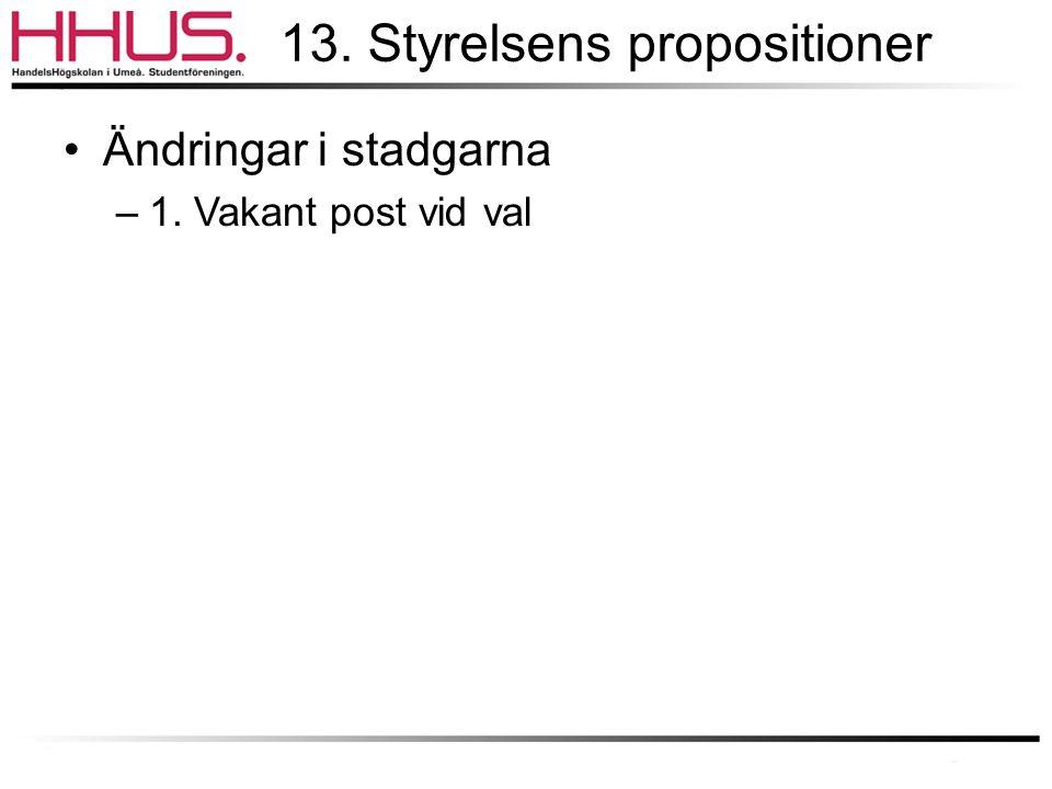 13. Styrelsens propositioner •Ändringar i stadgarna –1. Vakant post vid val