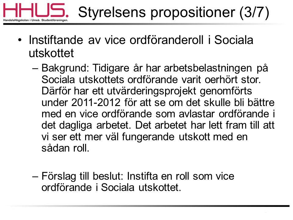 Styrelsens propositioner (3/7) •Instiftande av vice ordföranderoll i Sociala utskottet –Bakgrund: Tidigare år har arbetsbelastningen på Sociala utskottets ordförande varit oerhört stor.