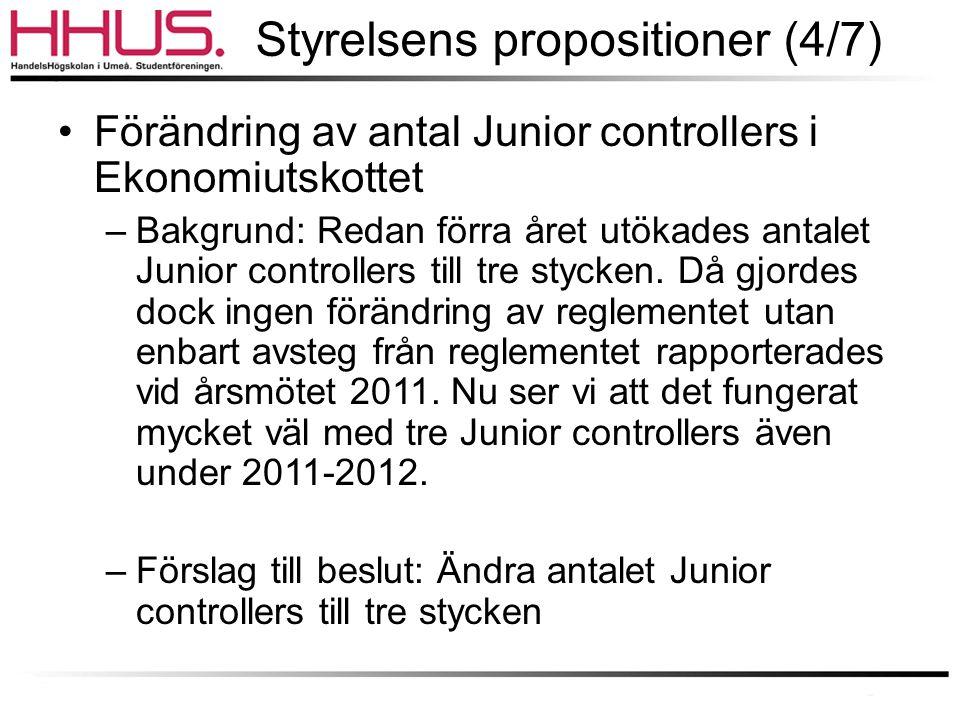 Styrelsens propositioner (4/7) •Förändring av antal Junior controllers i Ekonomiutskottet –Bakgrund: Redan förra året utökades antalet Junior controllers till tre stycken.