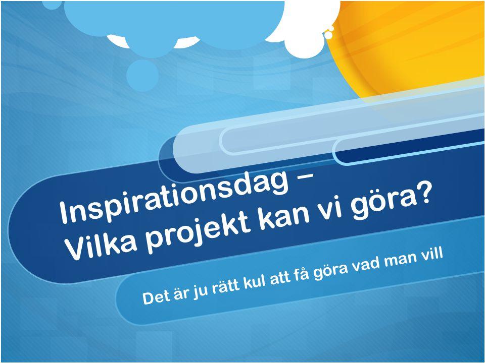 Inspirationsdag – Vilka projekt kan vi göra Det är ju rätt kul att få göra vad man vill