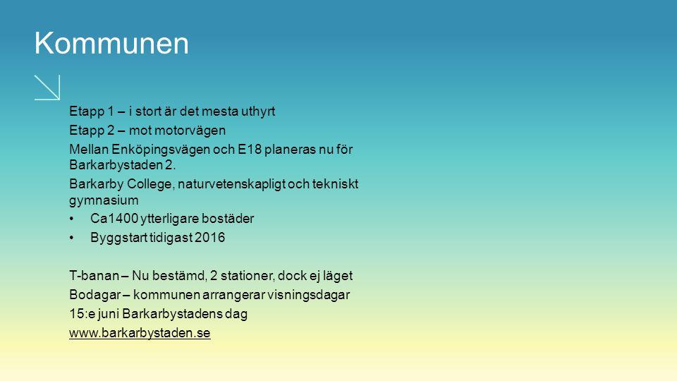 Kommunen Etapp 1 – i stort är det mesta uthyrt Etapp 2 – mot motorvägen Mellan Enköpingsvägen och E18 planeras nu för Barkarbystaden 2. Barkarby Colle