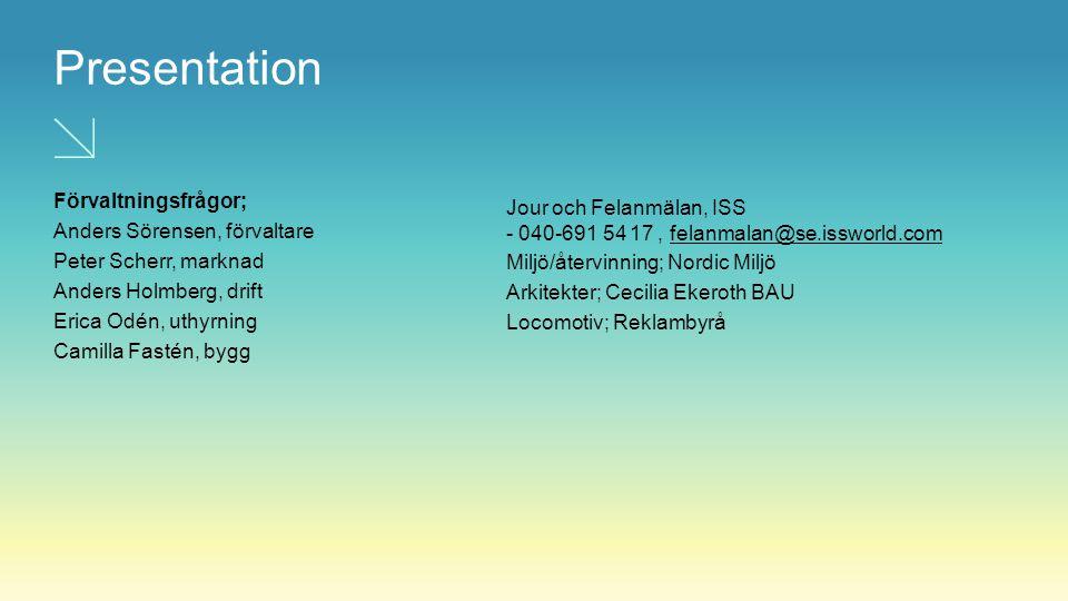 Presentation Förvaltningsfrågor; Anders Sörensen, förvaltare Peter Scherr, marknad Anders Holmberg, drift Erica Odén, uthyrning Camilla Fastén, bygg J