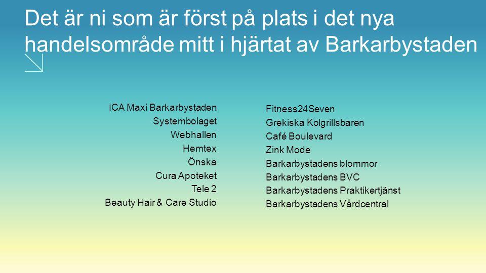 Det är ni som är först på plats i det nya handelsområde mitt i hjärtat av Barkarbystaden ICA Maxi Barkarbystaden Systembolaget Webhallen Hemtex Önska