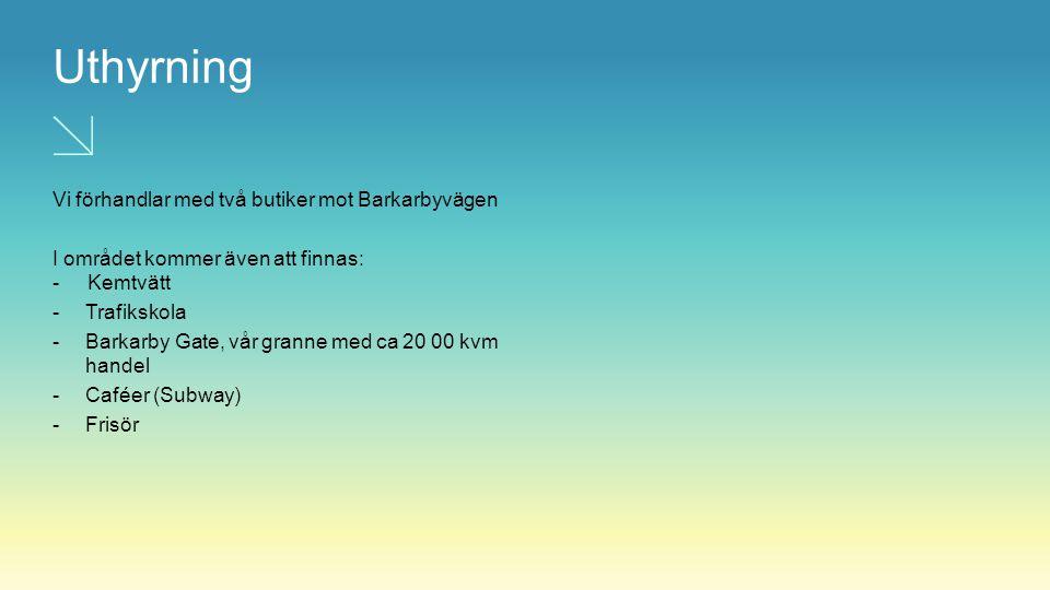 Uthyrning Vi förhandlar med två butiker mot Barkarbyvägen I området kommer även att finnas: - Kemtvätt -Trafikskola -Barkarby Gate, vår granne med ca