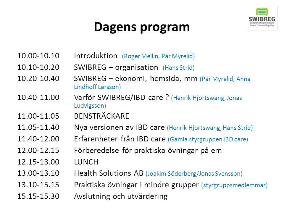 Dagens program 10.00-10.10Introduktion (Roger Mellin, Pär Myrelid) 10.10-10.20 SWIBREG – organisation (Hans Strid) 10.20-10.40 SWIBREG – ekonomi, hems