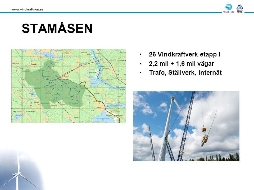 STAMÅSEN •26 Vindkraftverk etapp I •2,2 mil + 1,6 mil vägar •Trafo, Ställverk, internät