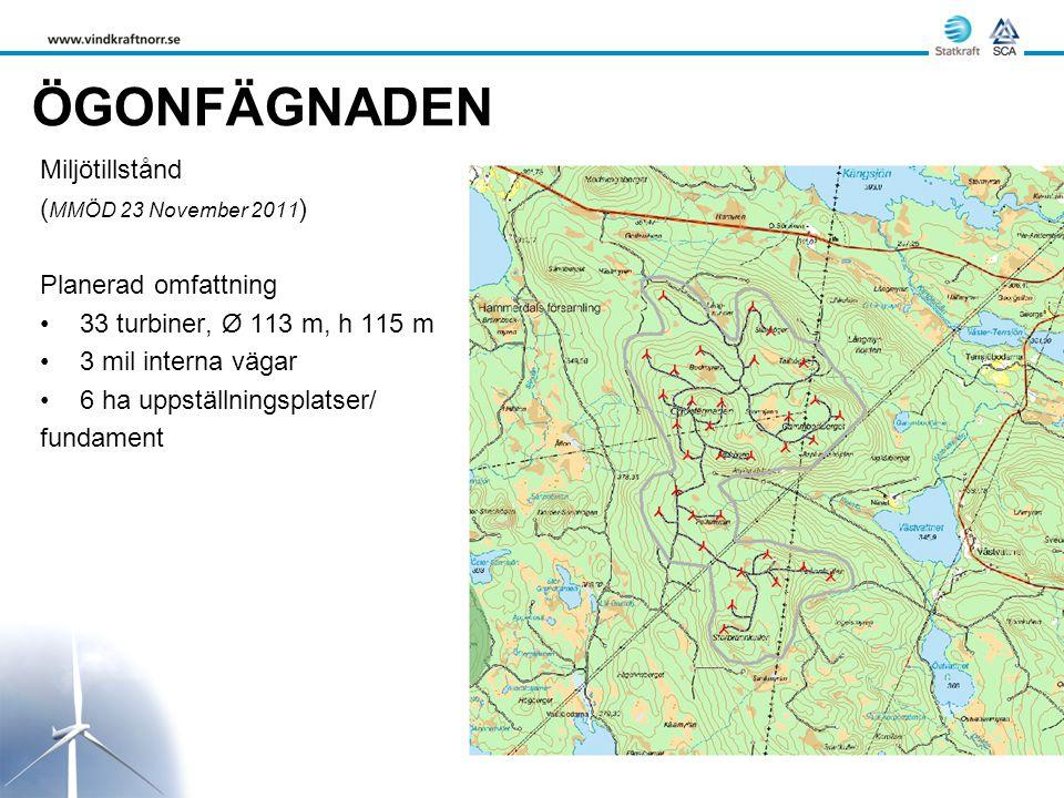 ÖGONFÄGNADEN Miljötillstånd ( MMÖD 23 November 2011 ) Planerad omfattning •33 turbiner, Ø 113 m, h 115 m •3 mil interna vägar •6 ha uppställningsplatser/ fundament