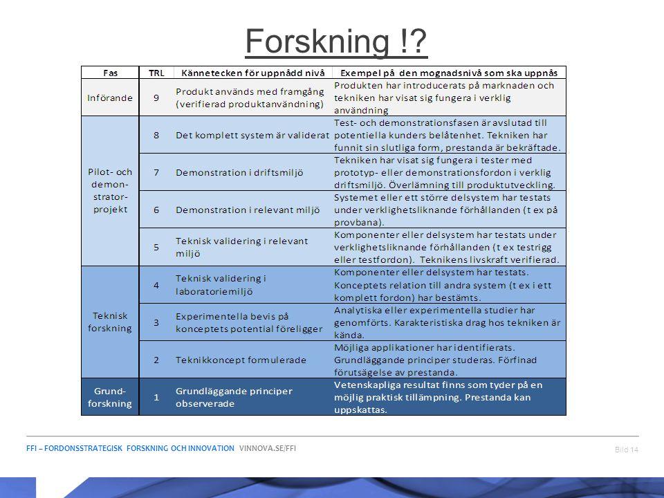 FFI – FORDONSSTRATEGISK FORSKNING OCH INNOVATION VINNOVA.SE/FFI Bild 14 Forskning !?