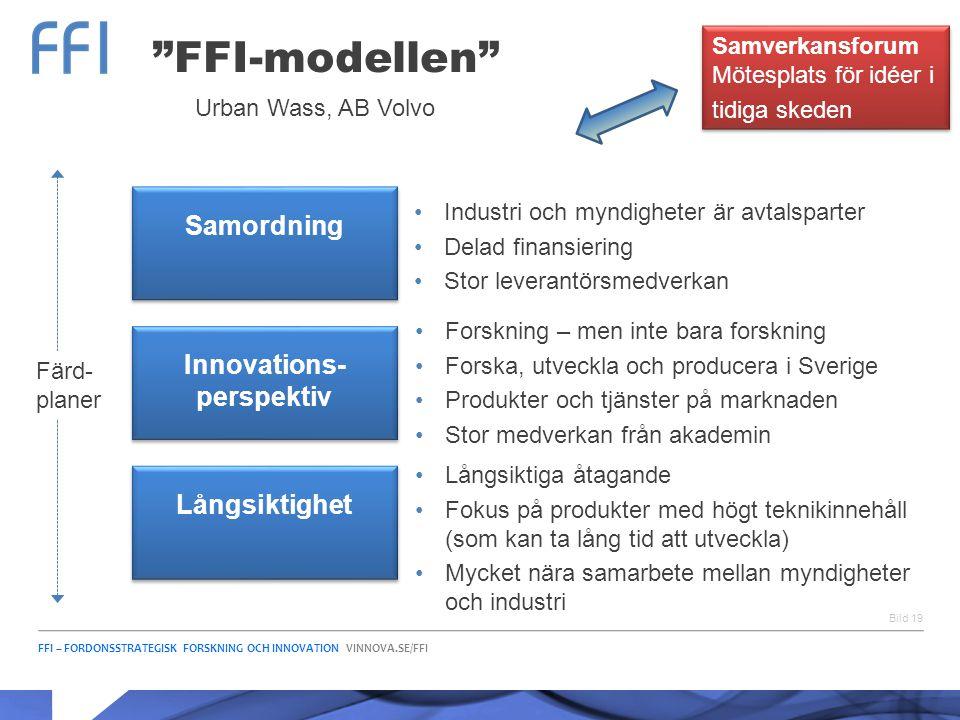 """FFI – FORDONSSTRATEGISK FORSKNING OCH INNOVATION VINNOVA.SE/FFI Bild 19 """"FFI-modellen"""" Samordning Innovations- perspektiv Långsiktighet •Industri och"""