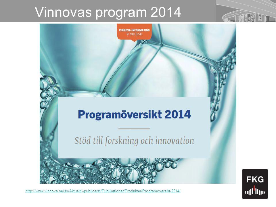 Vinnovas program 2014 http://www.vinnova.se/sv/Aktuellt--publicerat/Publikationer/Produkter/Programoversikt-2014/
