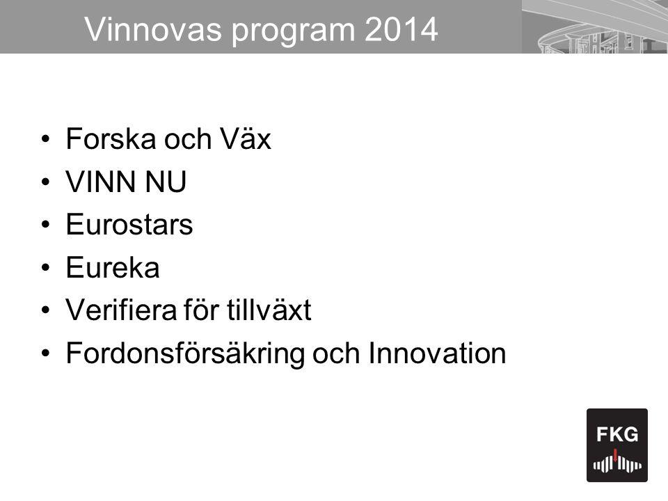 Vinnovas program 2014 •Forska och Väx •VINN NU •Eurostars •Eureka •Verifiera för tillväxt •Fordonsförsäkring och Innovation