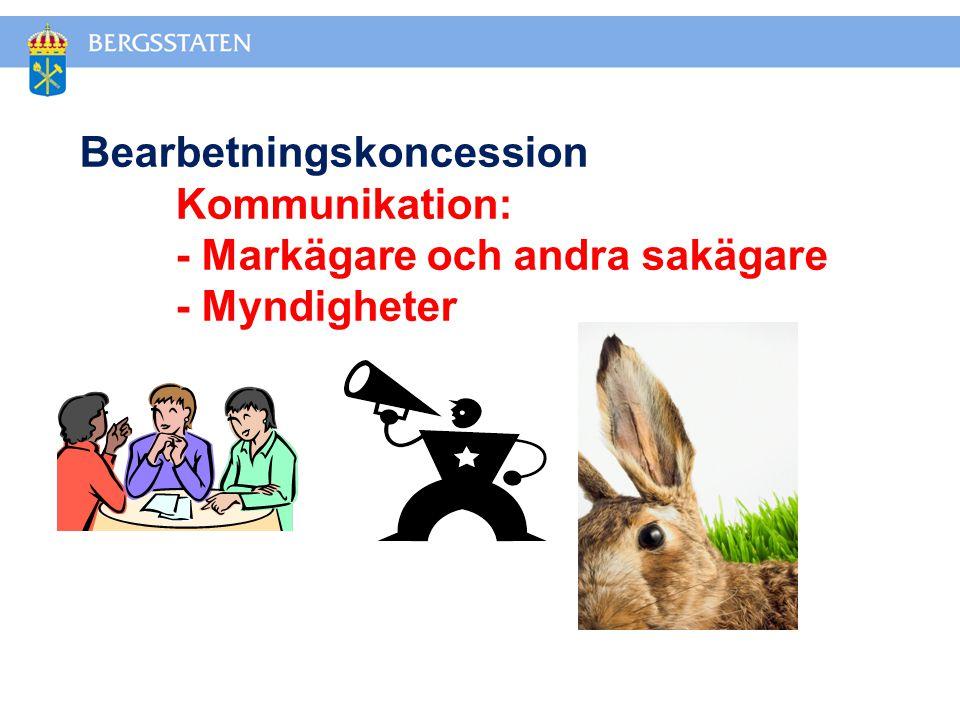 Bearbetningskoncession Kommunikation: - Markägare och andra sakägare - Myndigheter