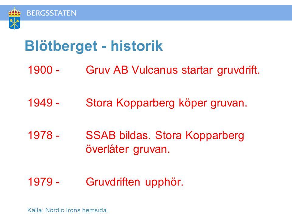 Blötberget - historik 1900 -Gruv AB Vulcanus startar gruvdrift.
