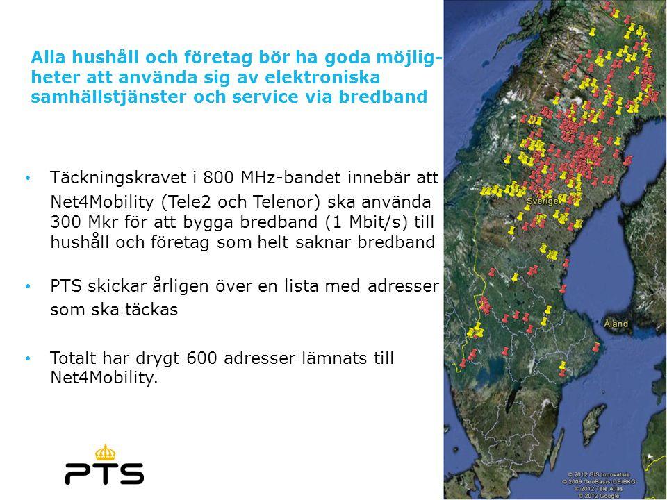 Alla hushåll och företag bör ha goda möjlig- heter att använda sig av elektroniska samhällstjänster och service via bredband • Täckningskravet i 800 M