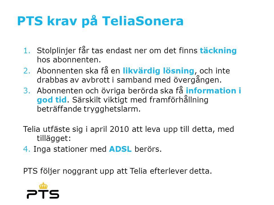 PTS krav på TeliaSonera 1.Stolplinjer får tas endast ner om det finns täckning hos abonnenten. 2.Abonnenten ska få en likvärdig lösning, och inte drab