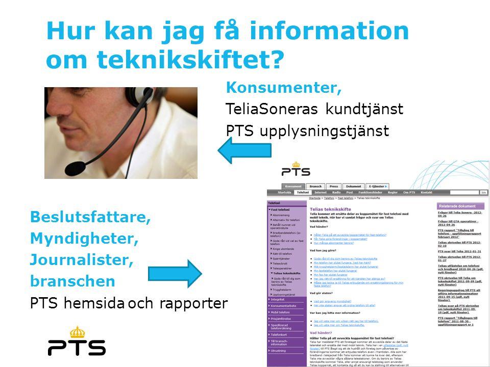 Hur kan jag få information om teknikskiftet? Konsumenter, TeliaSoneras kundtjänst PTS upplysningstjänst Beslutsfattare, Myndigheter, Journalister, bra