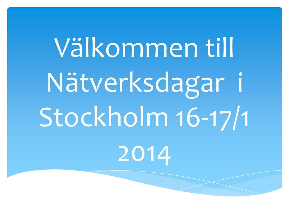 Program för Nätverksdagarna 16:e till 17:e januari, Stockholm Dag 1 Förmiddag på Insikten , eftermiddag på Eldkvarn (röd grupp) respektive Orten (grön grupp) 9:30 – 10:00 Kaffe och smörgås, lokal Insikten 10:00 – 11:00 Genomgång av programmet för nätverksdagarna Presentation av deltagare 11:00 – 13:00 Föreläsning om Skolverkets allmänna råd samt DSM-5 13:00 - 14:00 LUNCH på egen hand 14:00 – 16:30 Diskussion, fallbeskrivningar.