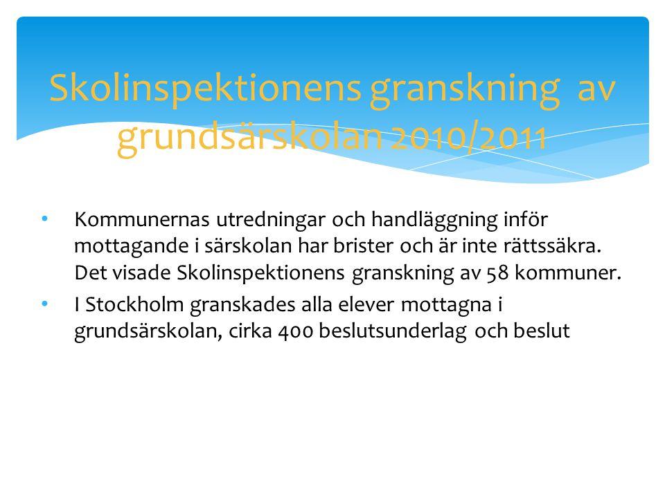 Skolinspektionens granskning av grundsärskolan 2010/2011 • Kommunernas utredningar och handläggning inför mottagande i särskolan har brister och är in
