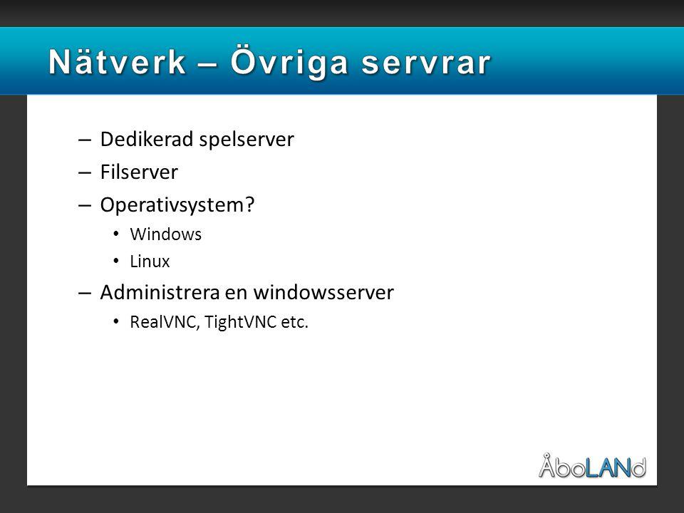 – Dedikerad spelserver – Filserver – Operativsystem.