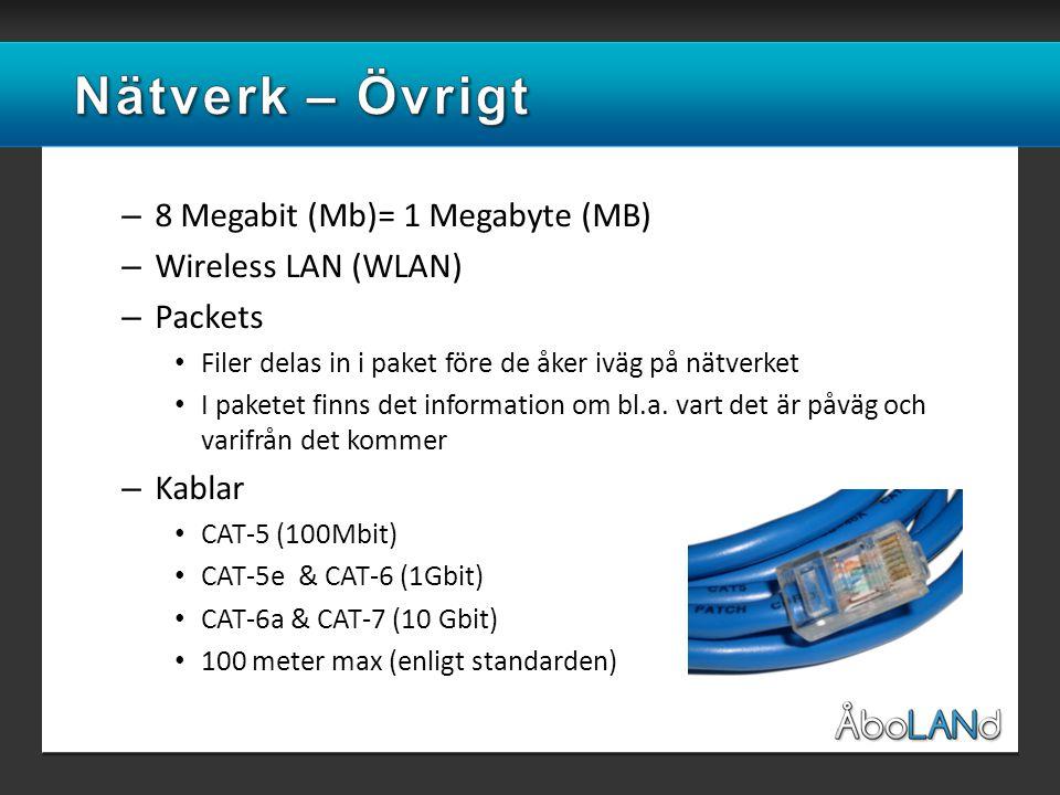 – 8 Megabit (Mb)= 1 Megabyte (MB) – Wireless LAN (WLAN) – Packets • Filer delas in i paket före de åker iväg på nätverket • I paketet finns det information om bl.a.