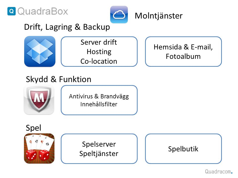 Antivirus & Brandvägg Innehållsfilter Skydd & Funktion Drift, Lagring & Backup Server drift Hosting Co-location Spelserver Speltjänster Spel Molntjäns