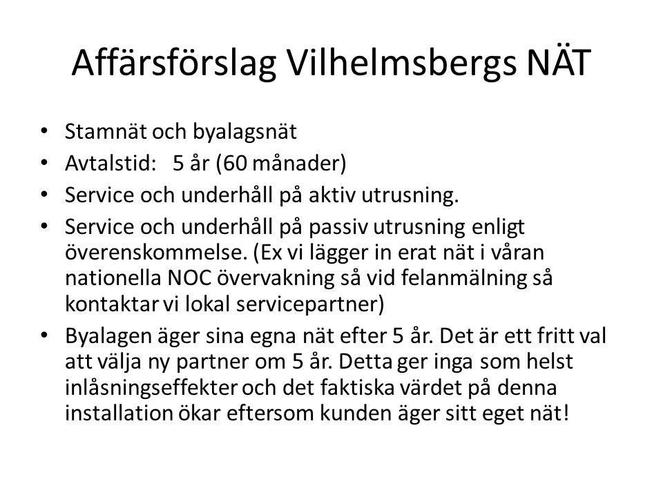 Affärsförslag Vilhelmsbergs NÄT • Stamnät och byalagsnät • Avtalstid:5 år (60 månader) • Service och underhåll på aktiv utrusning. • Service och under