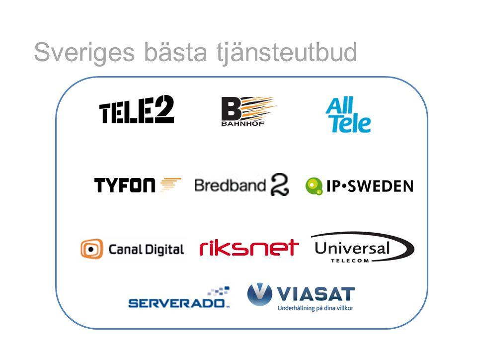 • Bredband – 1/1 Mbit/s169 kr – 100/10 Mbit/s249 kr – 100 Mbit/s399 kr • Telefoni – Abonnemang29 kr • Bredband + telefoni – 1/1 + tele169 kr – Triple-play – Från 379 kr Prisexempel öppna nät