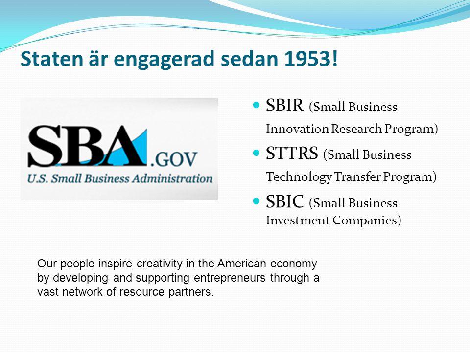 Staten är engagerad sedan 1953!  SBIR (Small Business Innovation Research Program)  STTRS (Small Business Technology Transfer Program)  SBIC (Small