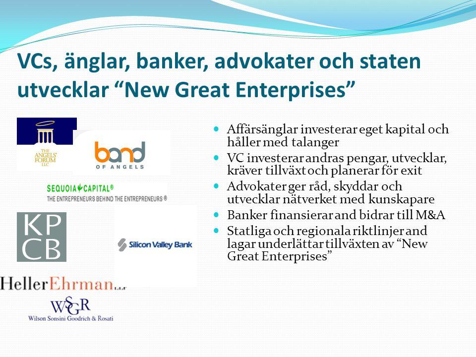 VCs, änglar, banker, advokater och staten utvecklar New Great Enterprises  Affärsänglar investerar eget kapital och håller med talanger  VC investerar andras pengar, utvecklar, kräver tillväxt och planerar för exit  Advokater ger råd, skyddar och utvecklar nätverket med kunskapare  Banker finansierar and bidrar till M&A  Statliga och regionala riktlinjer and lagar underlättar tillväxten av New Great Enterprises