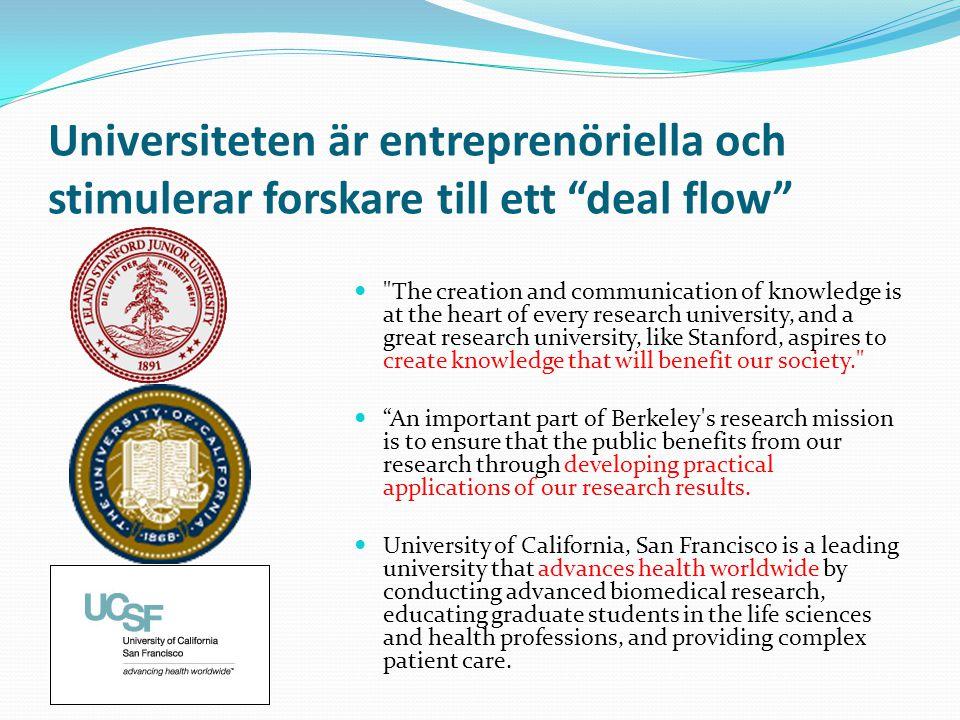 """Universiteten är entreprenöriella och stimulerar forskare till ett """"deal flow"""" """