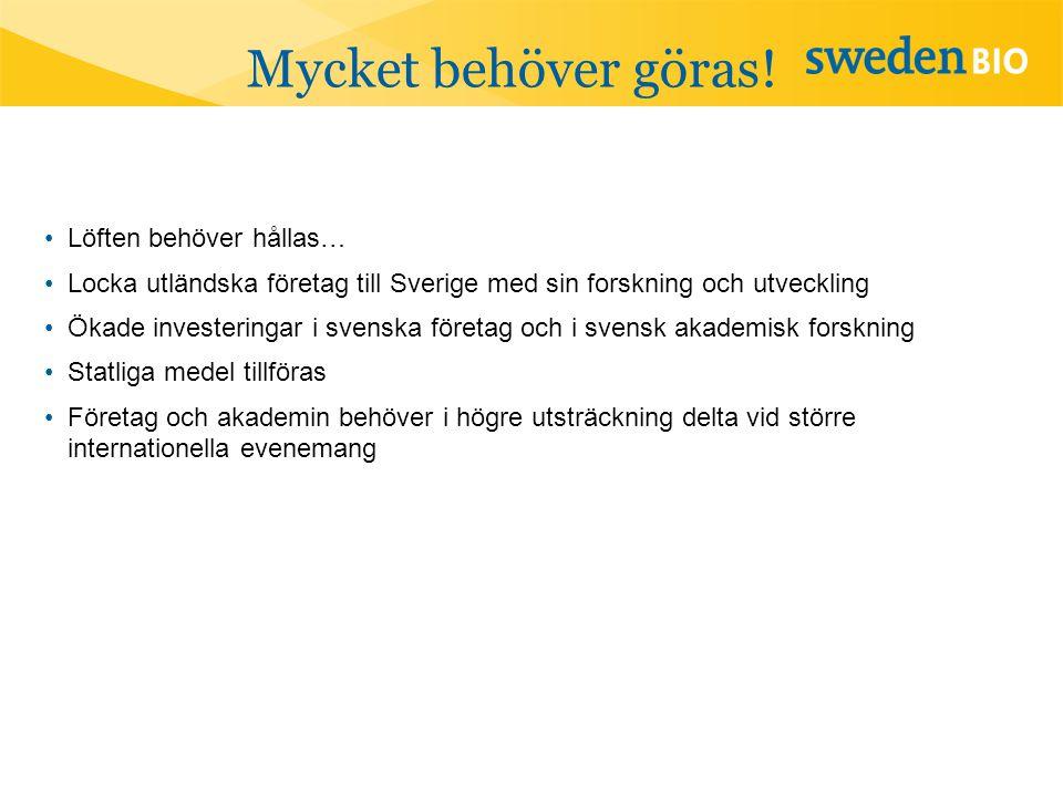Mycket behöver göras! •Löften behöver hållas… •Locka utländska företag till Sverige med sin forskning och utveckling •Ökade investeringar i svenska fö