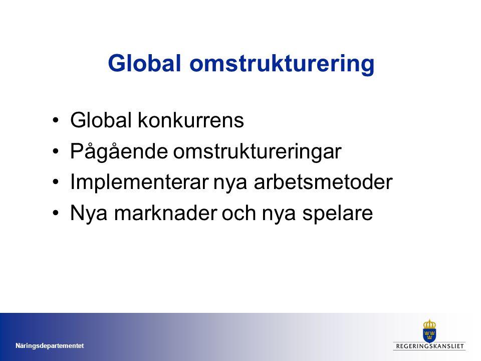 Näringsdepartementet Global omstrukturering •Global konkurrens •Pågående omstruktureringar •Implementerar nya arbetsmetoder •Nya marknader och nya spe