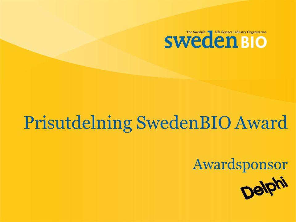 Prisutdelning SwedenBIO Award Awardsponsor