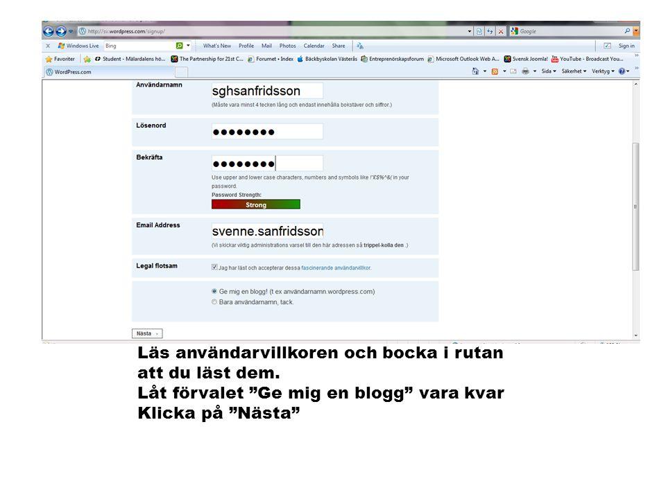 Här väljer du vilken adress din blogg ska ha samt bloggens titel.