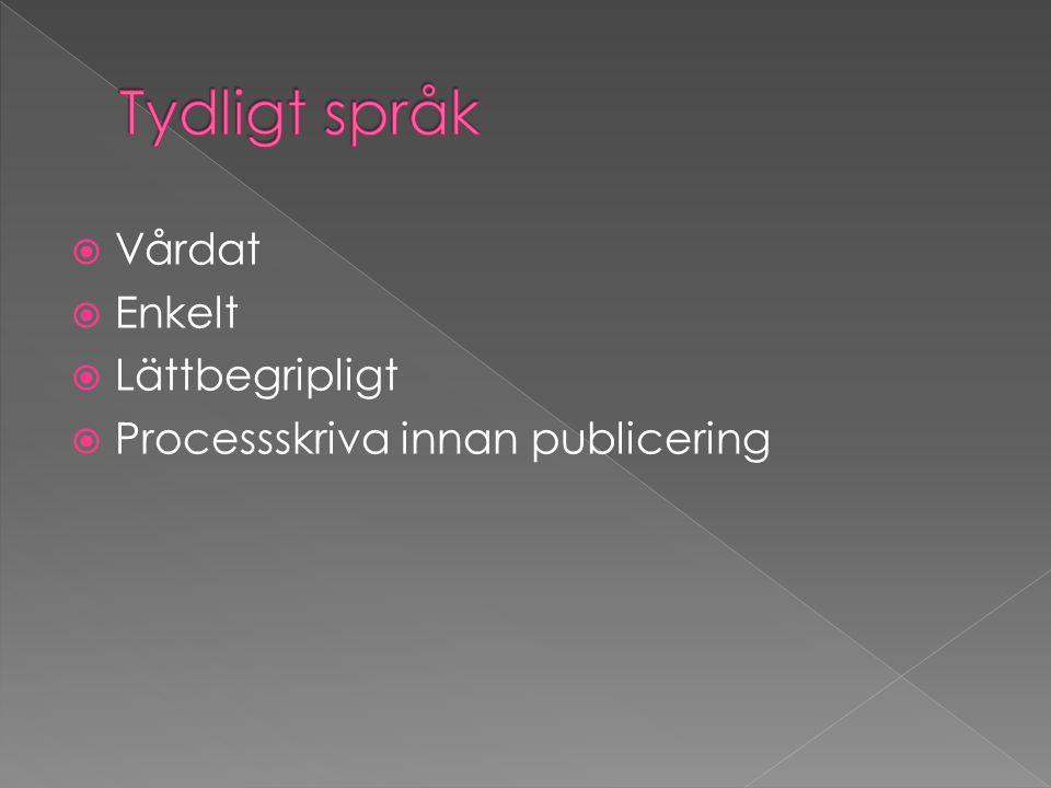  Vårdat  Enkelt  Lättbegripligt  Processskriva innan publicering