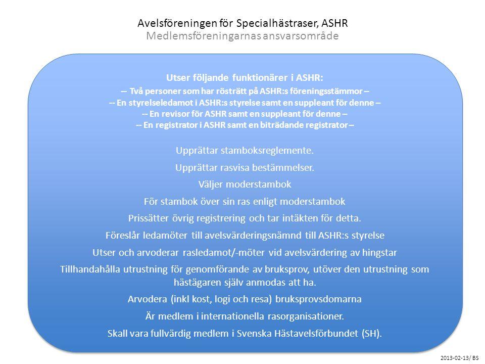 Avelsföreningen för Specialhästraser, ASHR Medlemsföreningarnas ansvarsområde Utser följande funktionärer i ASHR: -- Två personer som har rösträtt på