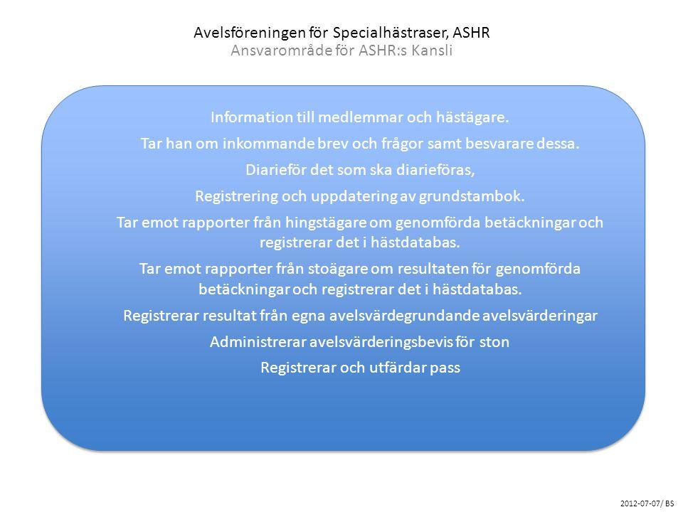 Avelsföreningen för Specialhästraser, ASHR Ansvarområde för ASHR:s Kansli 2012-07-07/ BS Information till medlemmar och hästägare. Tar han om inkomman